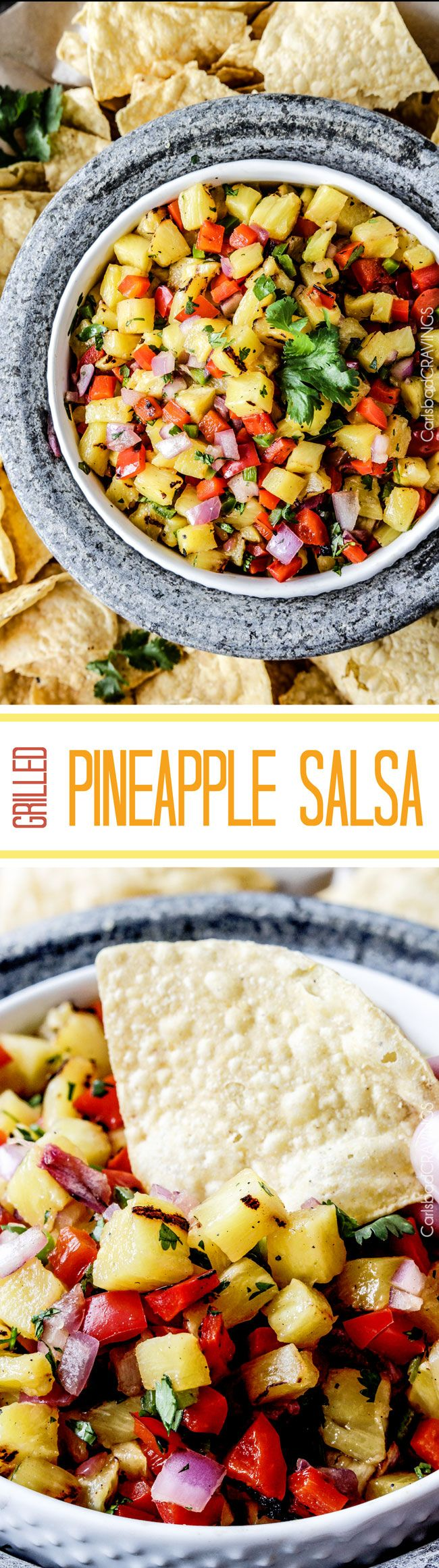 Sweet and smoky Grilled Pineapple salsa with not only grilled pineapple but GRILLED red bell peppers, red onions AND jalapeno! sweet and smoky and possibly the best salsa E-V-E-R alone, with chips, tacos or on fish/chicken. #pineapple #salsa #pineapplesalsa #grill