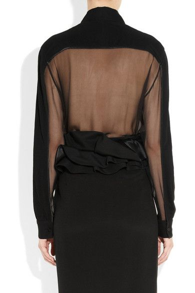 Givenchy - Black Organza Shirt With Plastron