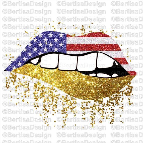 Us Gold Glitter Lips Sublimation Design 4th Of July Lips Png Etsy Digital Clip Art Glitter Lips Patriotic Lips