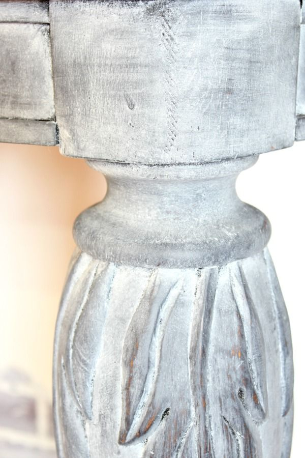 whitewash similiar to Restoration Hardware's look: white lime soft wax wiped over dark gray paint then clear soft wax over all of it....watch the tutorial