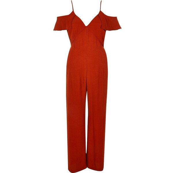 River Island Rust brown bardot palazzo jumpsuit ($71) ❤ liked on Polyvore featuring jumpsuits, brown, rompers/ jumpsuits, women, ruffle romper, cutout jumpsuit, red romper jumpsuit, romper jumpsuit and jump suit