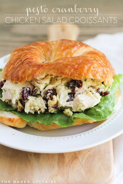 Pesto cranberry chicken salad - a quick, delicious, and elegant meal that's ready in just a few minutes! www.thebakerupstairs.com
