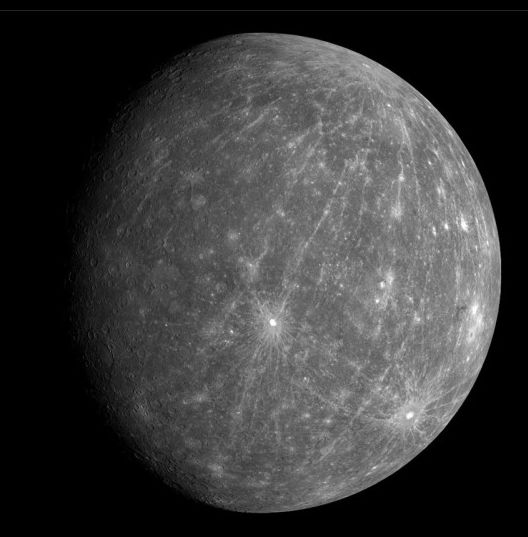 Mercury during the Messenger spacecraft's second flypast of the planet in October 2008 Picture: NASA/Johns Hopkins University Applied Physics Laboratory/Carnegie Institution of Washington