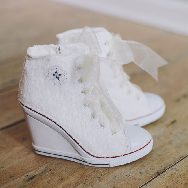 White Converse Bridal Sneakers // photo by: Brett & Jessica // http://www.theknot.com/weddings/album/a-rustic-wedding-chapel-hill-nc-143940