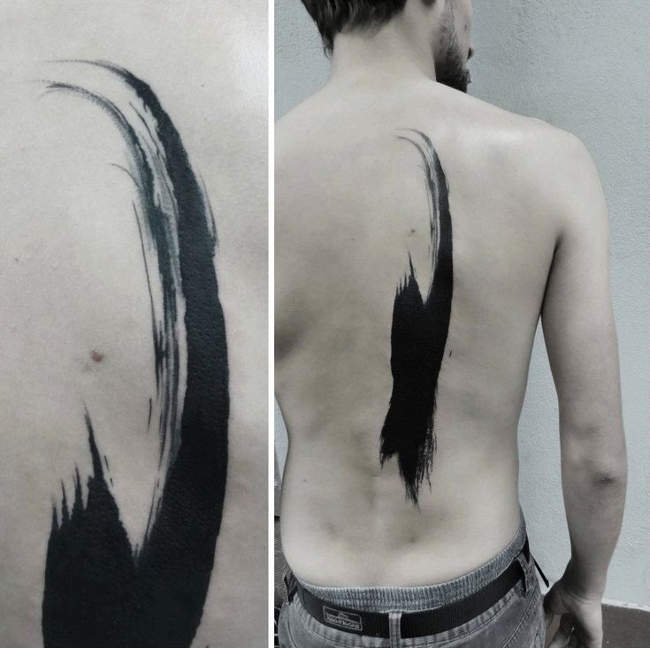 Brush Stroke Blackwork tattoo idea on Back