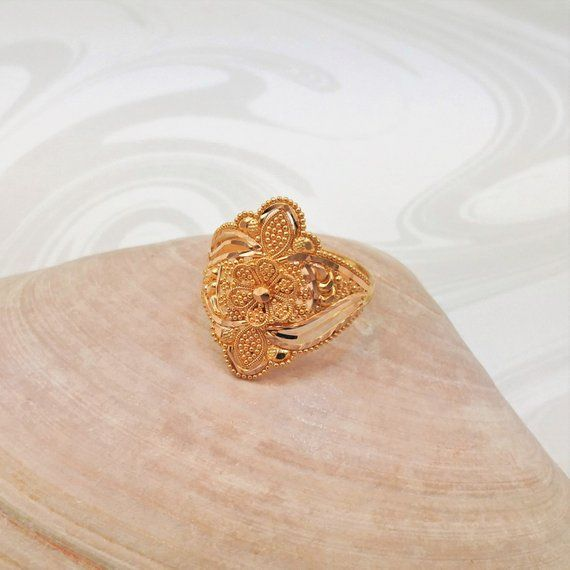 22k Solid Yellow Gold Ring Size 7 25 Handcrafted Hallmarked 22k 916 Goldshine Gold Rings Gold Ring Designs Yellow Gold Rings
