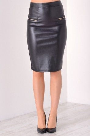 Clare PU Pencil Skirt in Black
