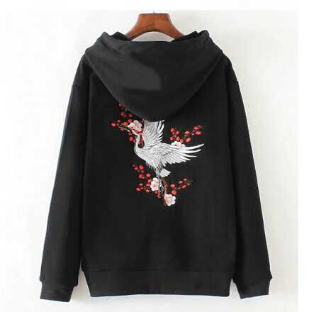 Buy Crane Embroidered Hoodie from bigboze.com This hoodie is Made To Order, one by one printed so we can control the quality. We use newest DTG Technology to print on to Crane Embroidered Hoodie. Color variant is black, gray, white. Pre-Shrunk 100% cotton, fully machine washable.