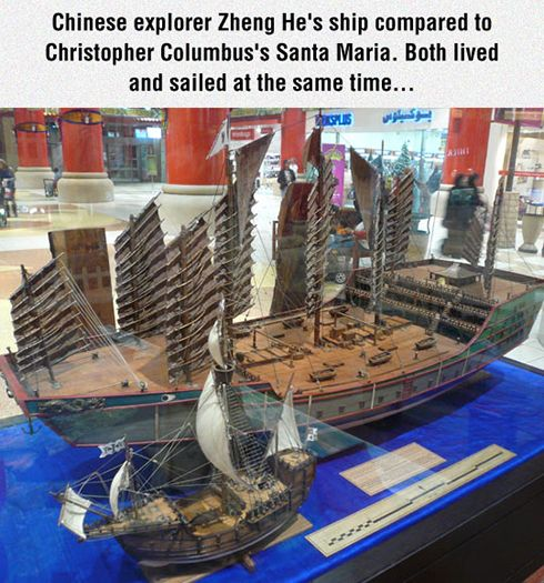 Chinese explorer Zheng He's ship compared to Christopher Columbus's Santa Maria. Both lived and sailed at the same time