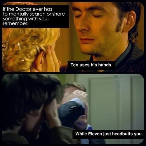 I think this is also very reflective of who they are... I find Ten to be the most human, the most loving - he came into his regeneration for someone, to be with someone. Eleven was reborn out of loss and nothing, he moves through his existence alone. He touches lives but he doesn't do so gently or for long because it hurts too much to do so. He won't let himself get invested.