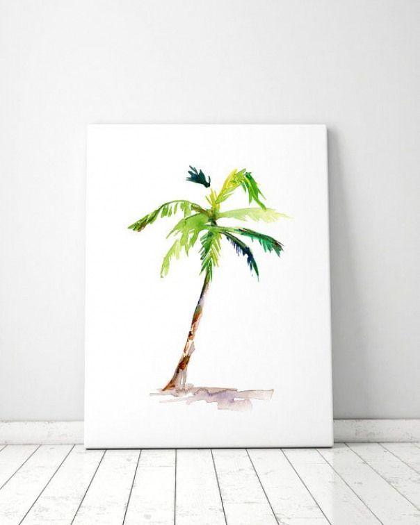 Palm Tree Impression Peinture Aquarelle Aquarelle Vert Zen Zen
