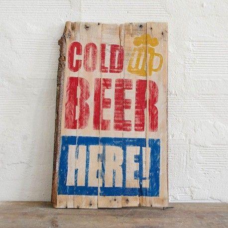 BEER Vintage Wood Sign handpainted for lovers of vintage - retrò decor. http://ferro29.com