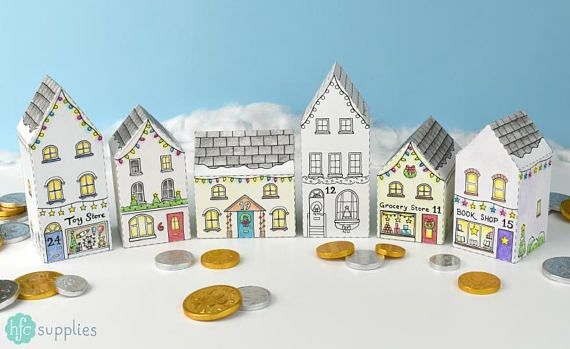 Advent Calendar Town Printable house boxes  colour in DIY kit.  Fill with sweets and gifts for your countdown to Christmas, or use as gift boxes or Christmas decorations! Click through to get one for yourself!  Designed by Hazel Fisher Creations, hfcSupplies Etsy.
