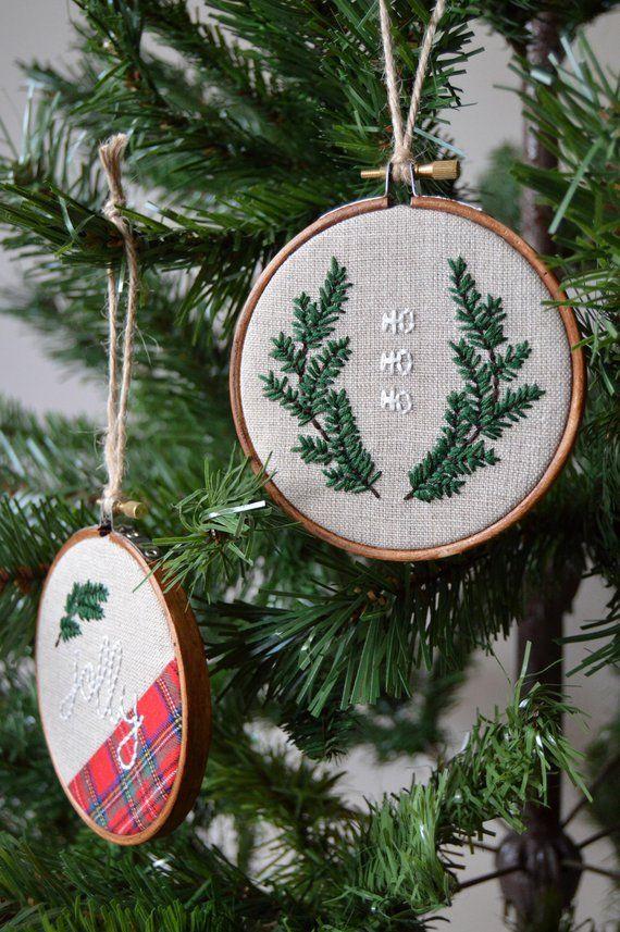 Christmas Ho Ho Ho Embroidery Tree Decoration Christmas Etsy Flower Embroidery Designs Christmas Embroidery Patterns Christmas Embroidery