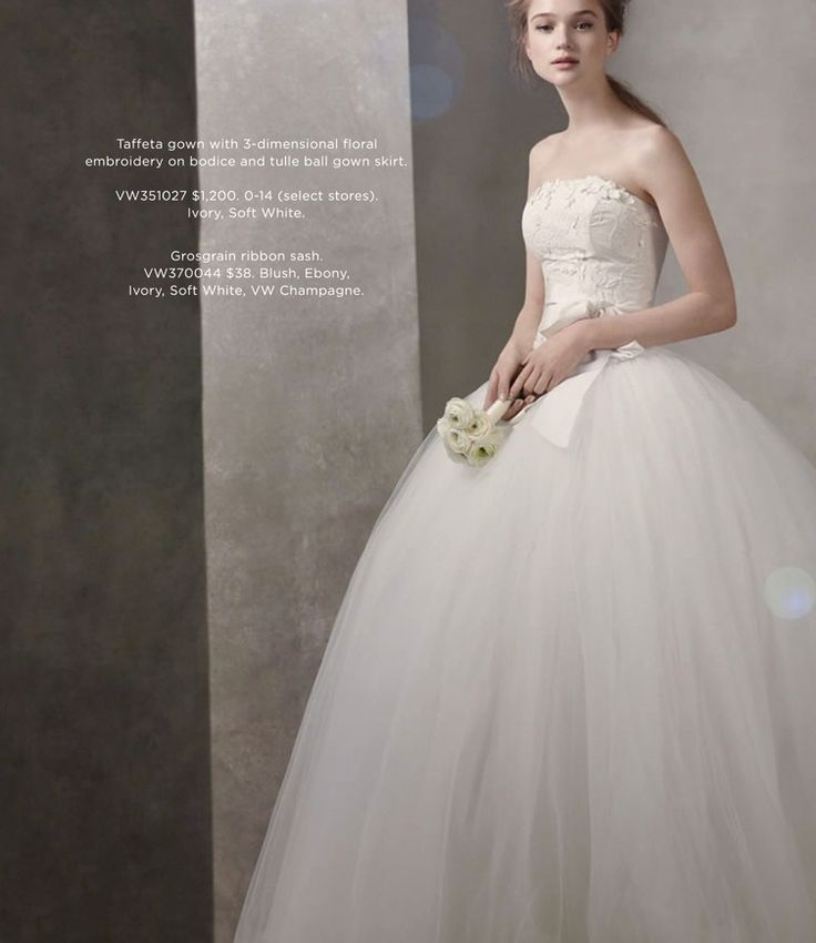 Superb White by Vera Wang Wedding Dresses at Davids Bridal taffeta ball gown with floral embroidery on bodice VW