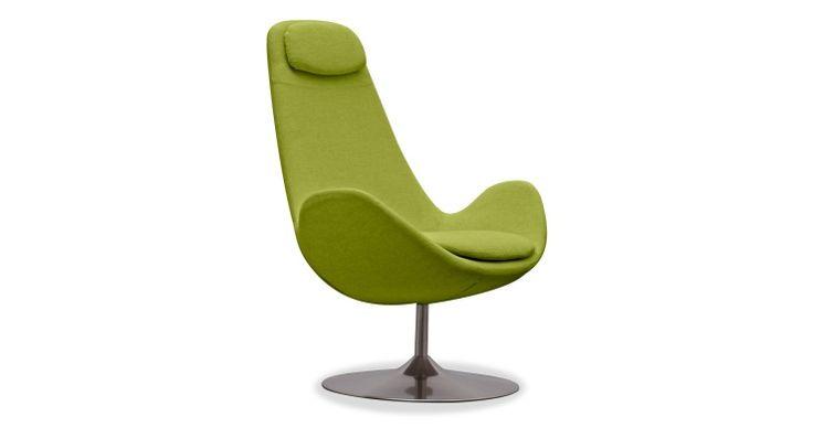 Loungestoel Houston hoog Stof Anda groen Draai
