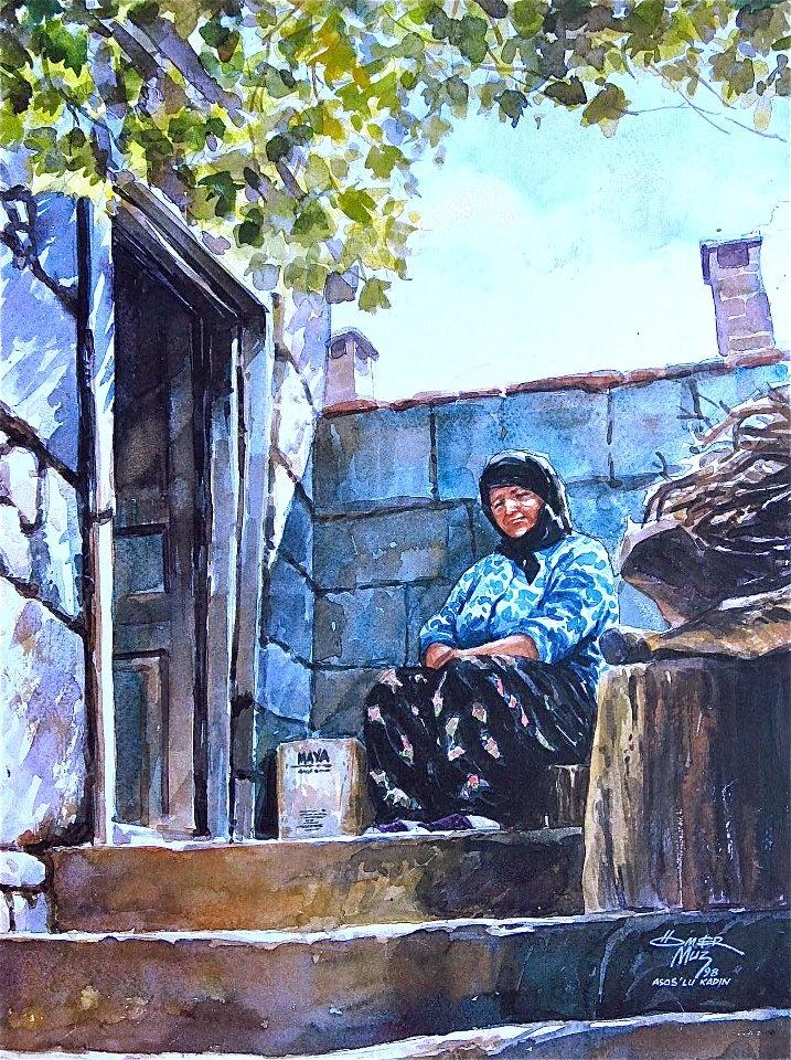 Ömer Muz'dan....Ömer Muz ile suluboya resim çalışmaları Hobi Sanat Merkezi'nde....