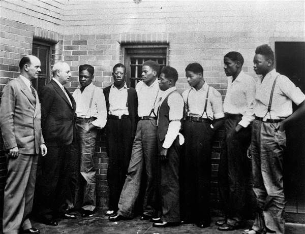 Alabama pardons Scottsboro Boys after 82 years - NBC News(Leroy(Roy) Wright, Olen Montgomery, Ozie Powell, Willie Roberson, Eugene Williams, Charlie Weems, Andy Wright)missinng Clarence Norris & Haywood Patterson