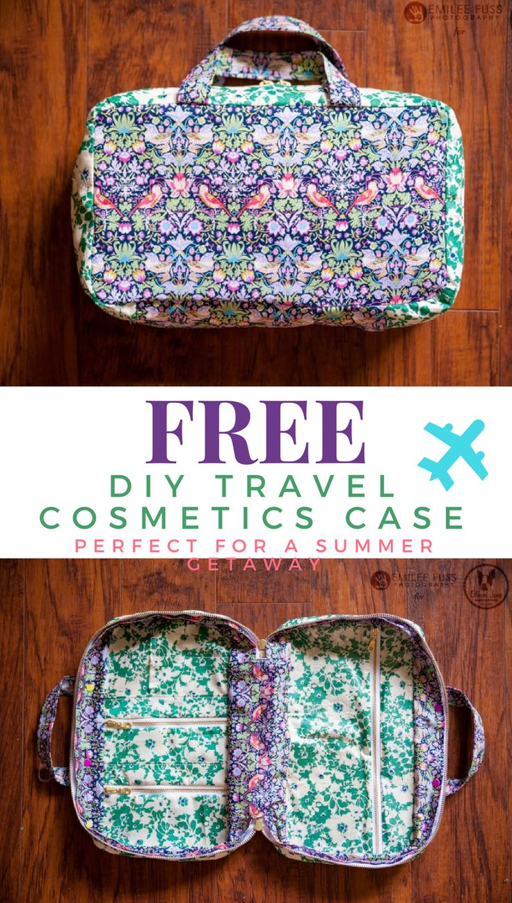 FREE travel cosmetics case:: You can use fabric you have on hand to whip up this…