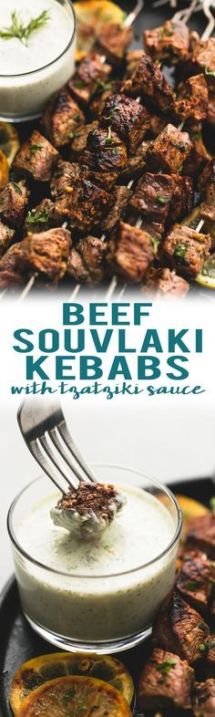 Easy marinated beef souvlaki kebabs with creamy tzatziki dipping sauce are healthy, delicious, and make the perfect baked or grilled skewers.   lecremedelacrumb.com