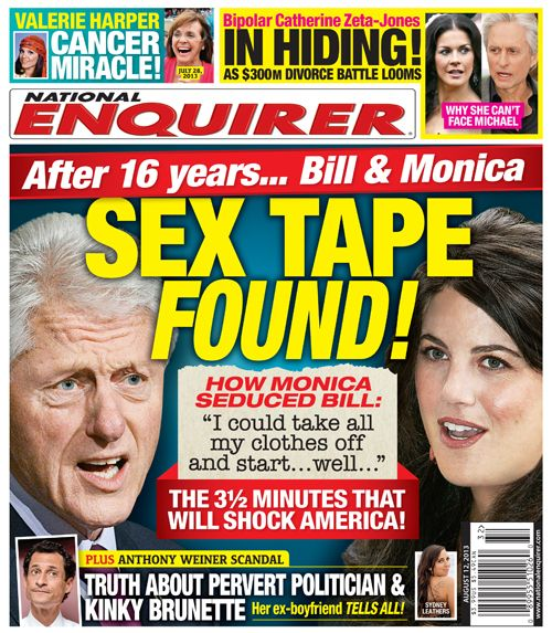 NEW 'NATIONAL ENQUIRER' COVER: Claims Bill Clinton & Monica Lewinsky 'Sex Tape' Surfaces