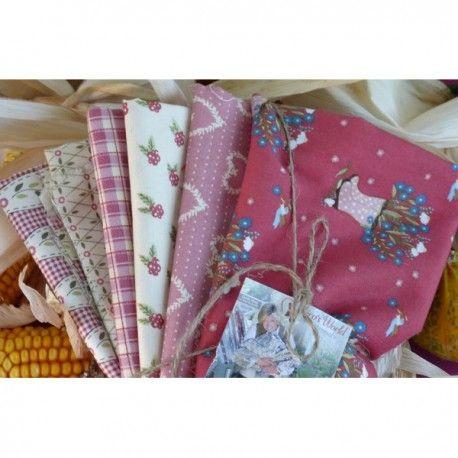 Pack de 6 telas en granates y rosas