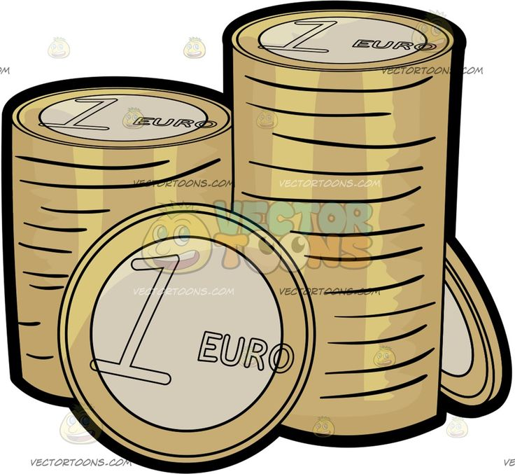 Stacks Of One Euro Coins :  Stacks of gold bordered silver coins worth one Euro each  The post Stacks Of One Euro Coins appeared first on VectorToons.com.   #clipart #vector #cartoon