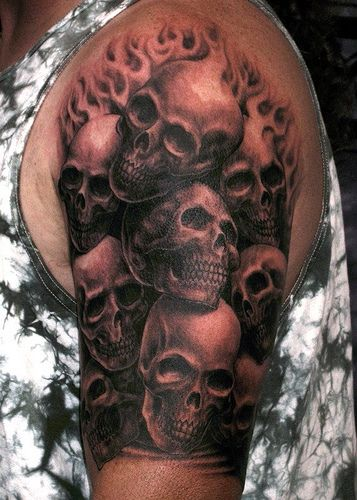 For my leg. I think it'd be cool to add a skull to the pile for every win I get in the cage. Plus for title matches to add a skull with a crown on it if I win.