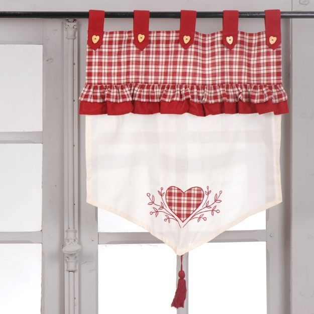 Brise bise carreaux rouge coeur L60 x H70 cm Amadeus