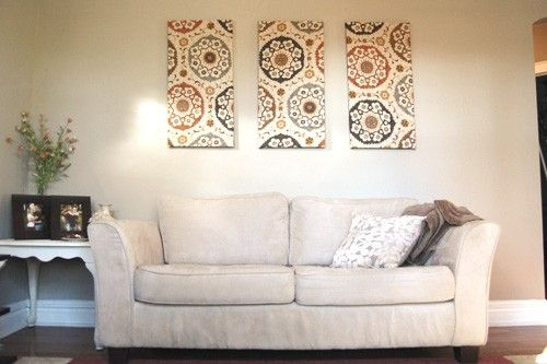fabric panel wall decor - DIY by meekrd
