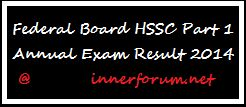 Federal Board HSSC Part 1 Annual Exam Result 2014