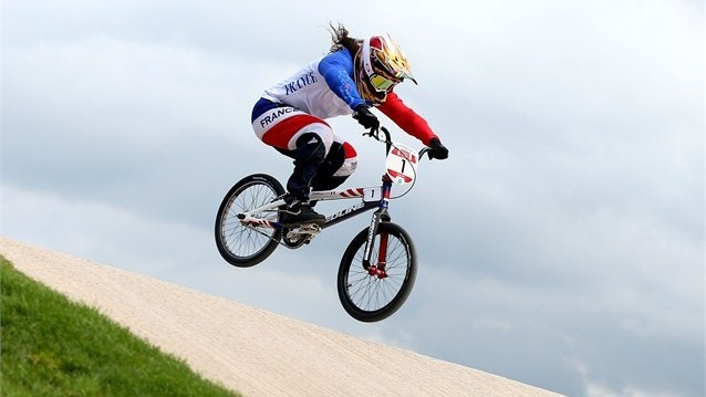 Magalie Pottier of France competes during the Women's BMX Cycling on Day 12 of the London 2012 Olympic Games at BMX Track