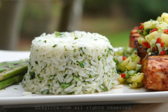 Arroz con cilantro y limón