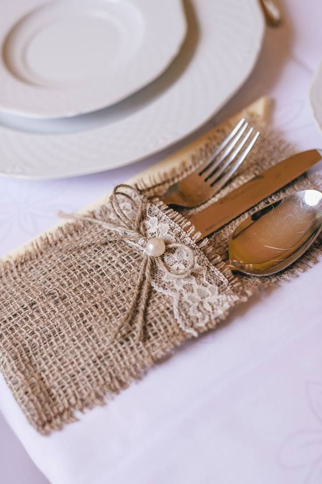 Burlap lace and pearl - rustic wedding - Oh Happy Day!