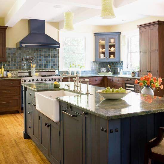 Kitchen Sink With Backsplash: Farm Sink, Corner Cabinets And
