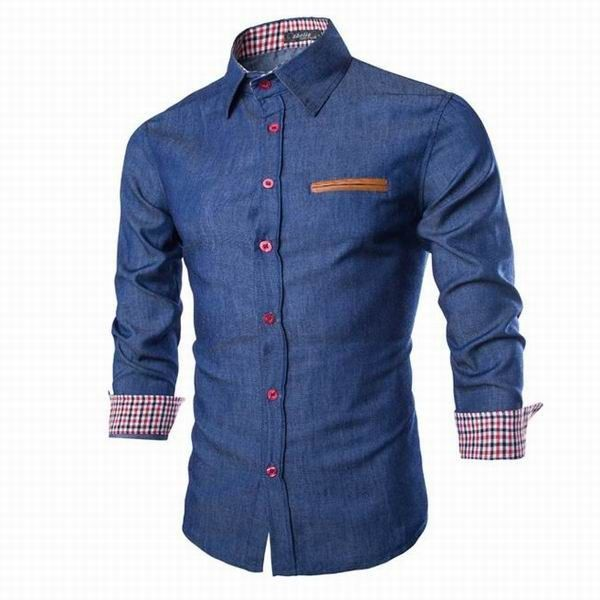 This Mens Denim Washing Slim Fit Long Sleeved Casual Dress Shirt should find its way to your wardrobe as it will definitely be the envy of everyone. #tshirt #poloshirt #businessshirt #casualshirt #Menshirt #menfashion