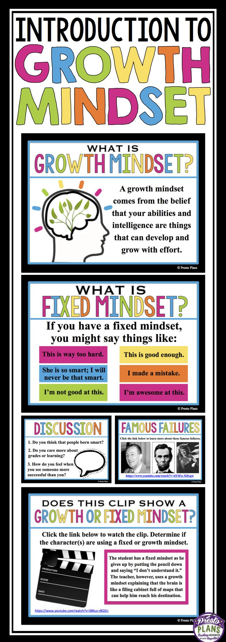 Introduce growth mindset to your students with this ready-to-use resource. After viewing this presentation, participating in the video activity prompts, and reading the handout, students will have a strong understanding of growth and fixed mindset!