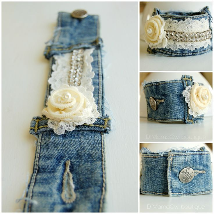 nice Upcycle recycled denim bracelet with ivory zipper flower, lace and rhinstones at...