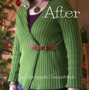 hoe je van oude kleren totaal iets nieuws kunt maken Pullover to cardigan refashion tutorial7jpg