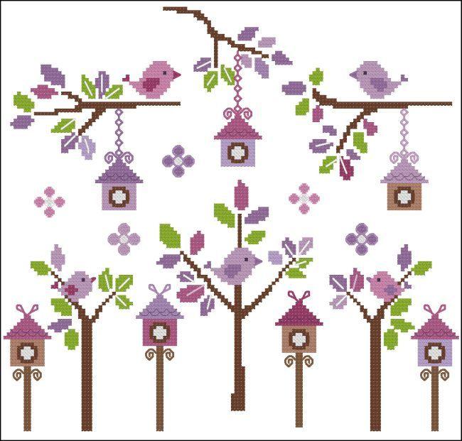 Petite Birds Lavender - Click Image to Close