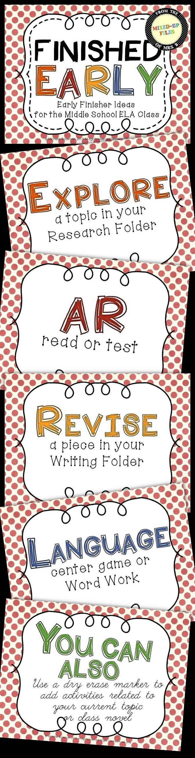 Early Finisher Ideas for the Middle School ELA Classroom -- FREE poster set -- Updated with pretty, new fonts and background colors -- Click to see the new look! -- from Mixed-Up Files