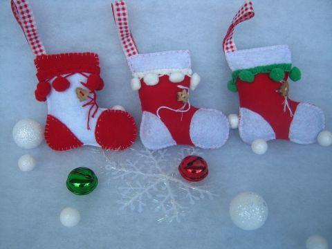 Karácsonyi csizmák - pomponos, Dekoráció, Otthon, lakberendezés, Karácsonyi, adventi apróságok, Karácsonyfadísz, Meska