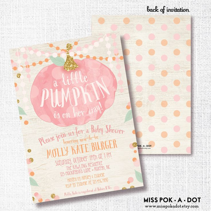 a little pumpkin is on her way - fall girl baby shower invitation - rustic pink and gold fall baby girl shower - fall baby sprinkle by misspokadot on Etsy https://www.etsy.com/listing/244326076/a-little-pumpkin-is-on-her-way-fall-girl