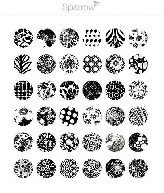 Black and White Patterns - (1x1) One Inch Round Pendant Images - Digital Sheet…
