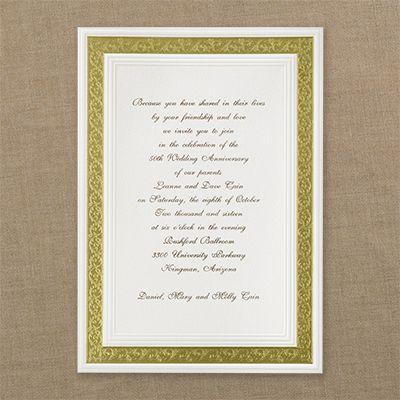 21 best Gold Invitations images on Pinterest Golden wedding - fresh invitation samples for 50th wedding anniversary