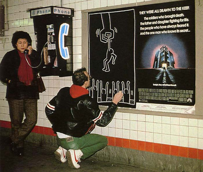 """installator: """"This is why Keith Haring got... - blood on the tracks."""