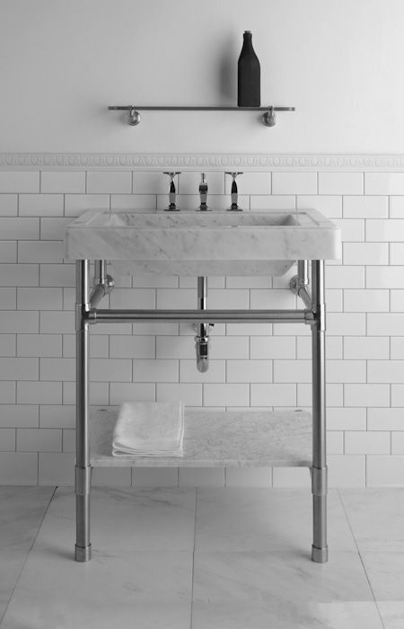 use these legs for stand (but underslung basin) add marble shelf under basin, metro wall tiles with marble floor