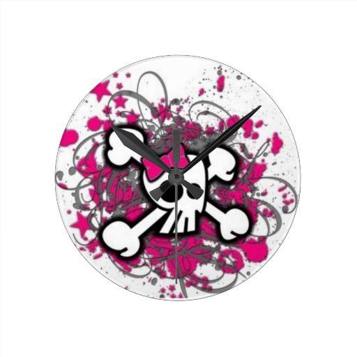 Cute Girly Skull Round Wallclocks