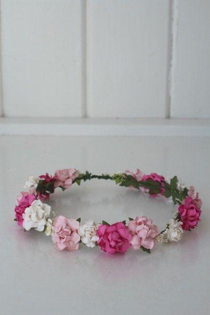 Handmade Paper Flower Crown - Valentine Pink!