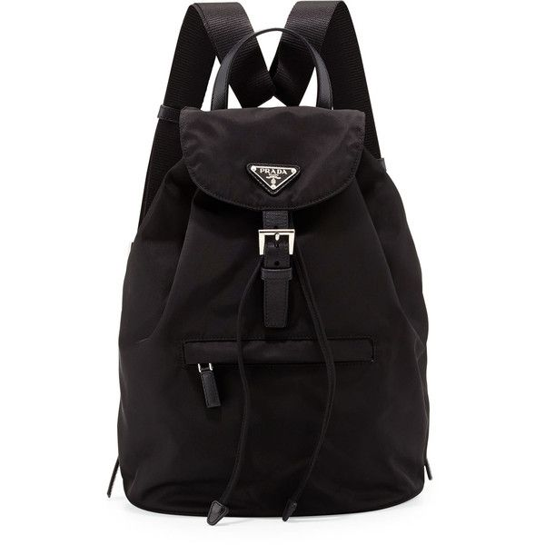 Prada Vela Medium Backpack (21.647.970 VND) ❤ liked on Polyvore featuring bags, backpacks, buckle flap backpack, triangle bag, logo bags, day pack backpack and backpacks bags